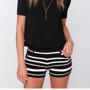 Black and Ivory Striped Shorts